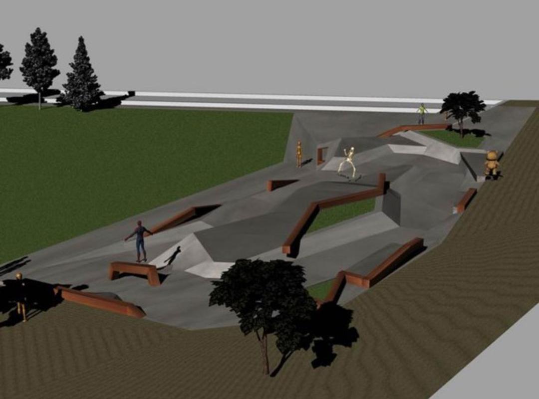 Een simulatie van het toekomstige skatepark.